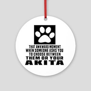 Akita Awkward Dog Designs Round Ornament
