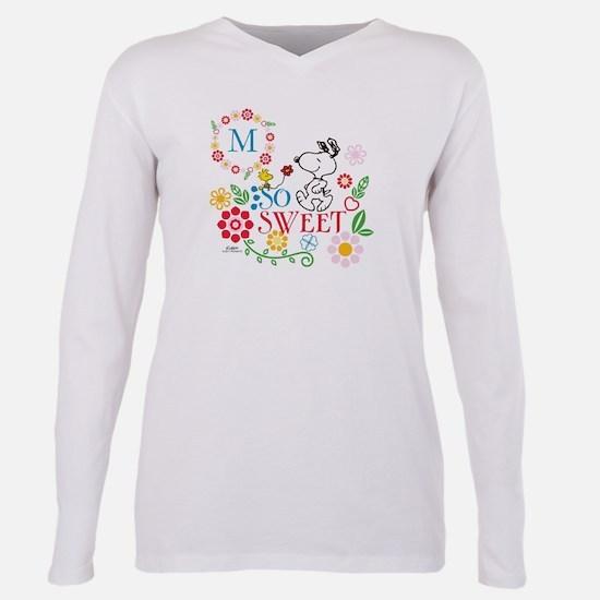 Snoopy Flowers Monogram Plus Size Long Sleeve Tee