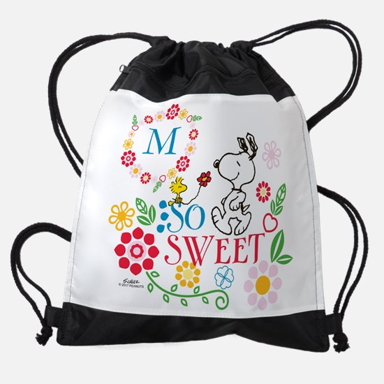 Snoopy Flowers Monogram Drawstring Bag