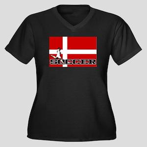 Denmark Flag Soccer Women's Plus Size V-Neck Dark