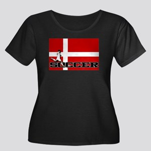 Denmark Flag Soccer Women's Plus Size Scoop Neck