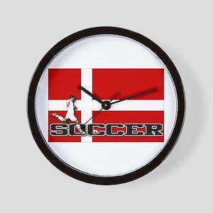 Denmark Flag Soccer Wall Clock