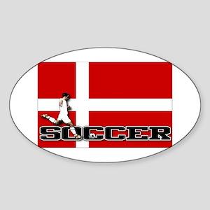 Denmark Flag Soccer Oval Sticker