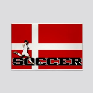 Denmark Flag Soccer Rectangle Magnet