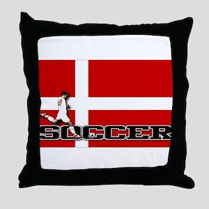 Denmark Flag Soccer Throw Pillow