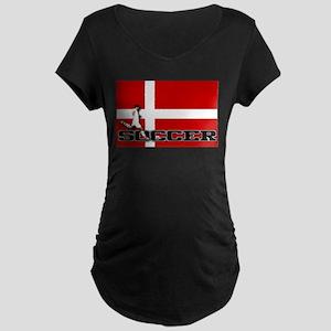 Denmark Flag Soccer Maternity Dark T-Shirt