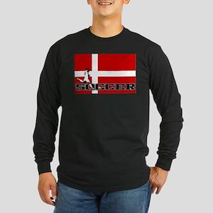 Denmark Flag Soccer Long Sleeve Dark T-Shirt