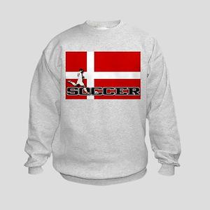 Denmark Flag Soccer Kids Sweatshirt