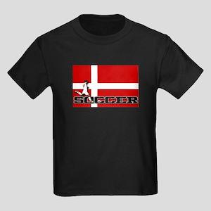 Denmark Flag Soccer Kids Dark T-Shirt