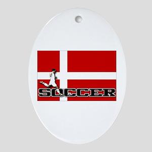 Denmark Flag Soccer Oval Ornament