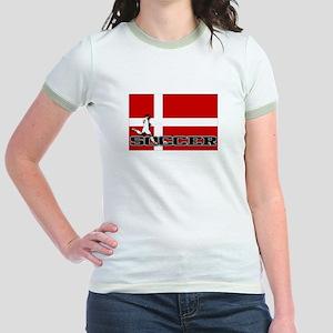 Denmark Flag Soccer Jr. Ringer T-Shirt