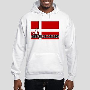 Denmark Flag Soccer Hooded Sweatshirt