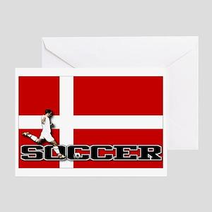 Denmark Flag Soccer Greeting Card