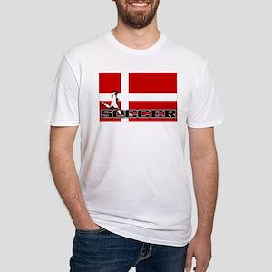 Denmark Flag Soccer Fitted T-Shirt