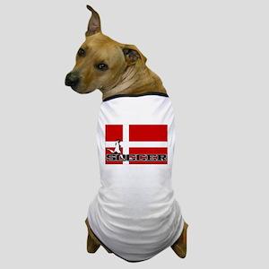 Denmark Flag Soccer Dog T-Shirt
