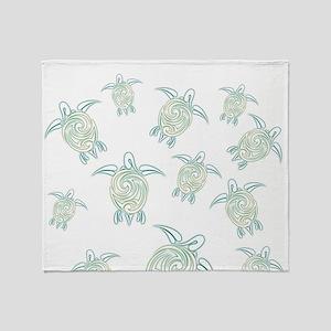 Turtles Pattern Green White Throw Blanket