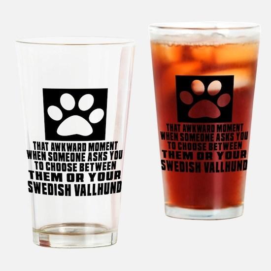 Swedish Vallhund Awkward Dog Design Drinking Glass