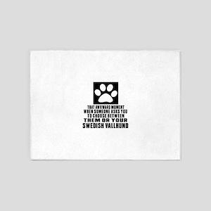Swedish Vallhund Awkward Dog Design 5'x7'Area Rug