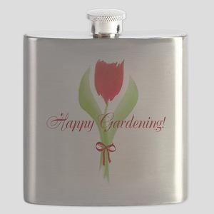 Cute Watercolor Tulip Gardener Flask