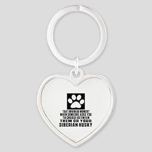 Siberian Husky Awkward Dog Designs Heart Keychain