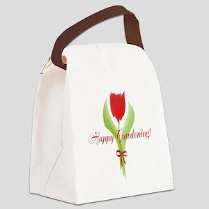 Cute Watercolor Tulip Gardener Canvas Lunch Bag