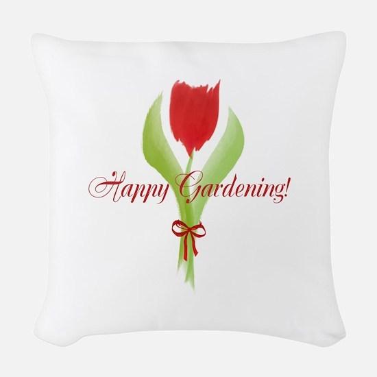Cute Watercolor Tulip Gardener Woven Throw Pillow