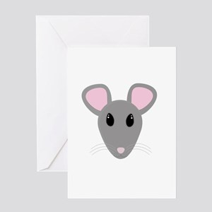 sweet gray mouse face Greeting Cards