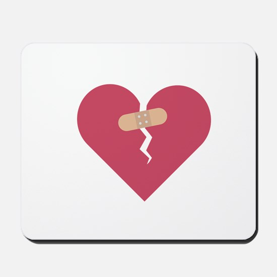 broken heart healed by patch Mousepad