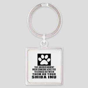 Shiba Inu Awkward Dog Designs Square Keychain