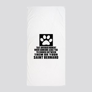 Saint Bernard Awkward Dog Designs Beach Towel
