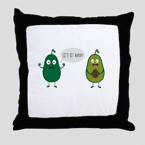 crazy avocado undresses Throw Pillow