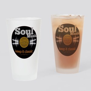 Soul Music Vinyl Classic on black Drinking Glass
