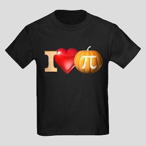 I Love Pumpkin Pi Kids Dark T-Shirt