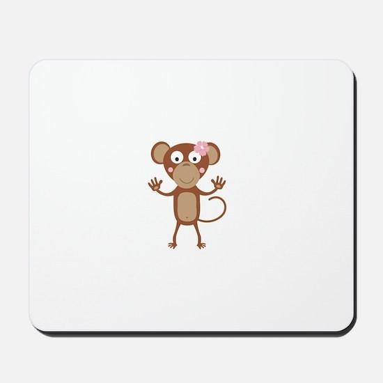 female monkey with flower Mousepad