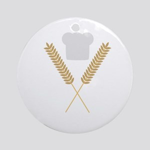 baker chef hat with wheat Round Ornament