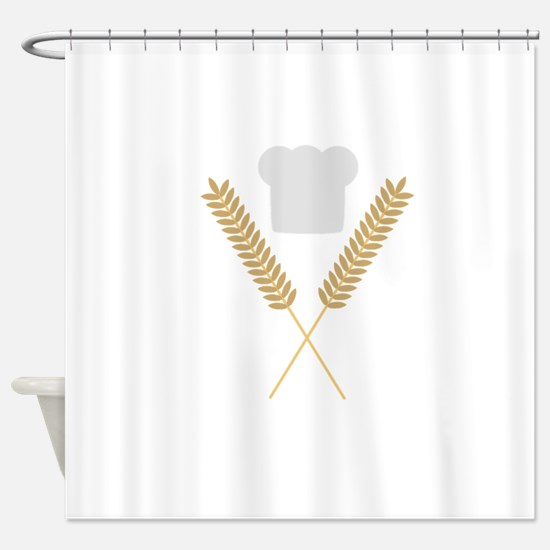 baker chef hat with wheat Shower Curtain
