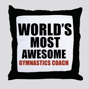 World's Most Awesome Gymnastics Coach Throw Pillow
