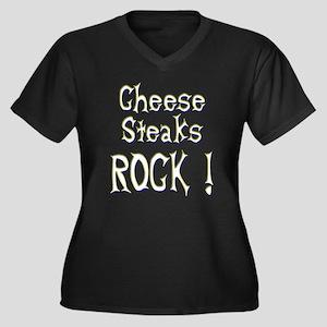 Cheese Steaks Rock ! Women's Plus Size V-Neck Dark