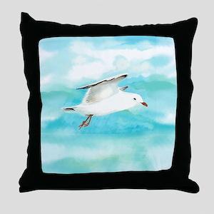 Watercolor Seagull Bird in Rain at Lake Throw Pill