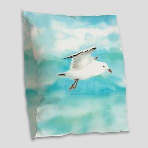 Watercolor Seagull Bird in Rain at Lake Burlap Thr