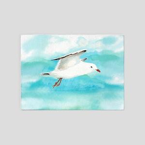 Watercolor Seagull Bird in Rain at Lake 5'x7'Area
