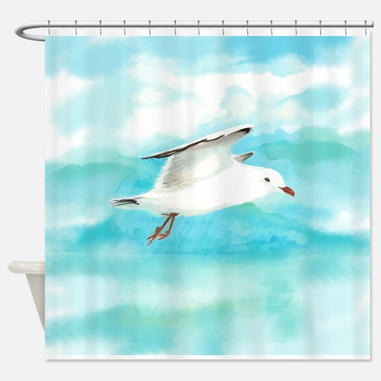 Watercolor Seagull Bird in Rain at Lake Shower Cur