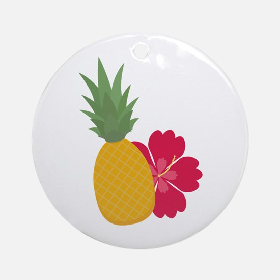 Pineapple with flower Round Ornament