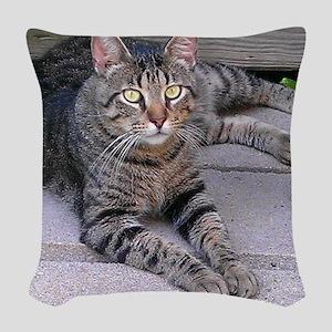 Brown Tabby Woven Throw Pillow