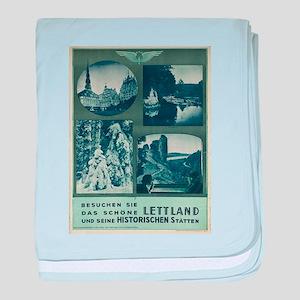 Vintage poster - Lettland baby blanket