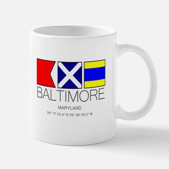 Baltimore Maryland Nautical Flag Art Mugs