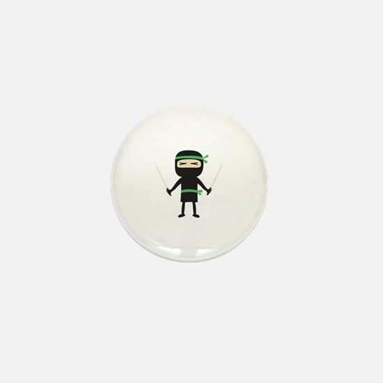 ninja with weapon Mini Button