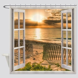 Beach Sunset Window View Shower Curtain