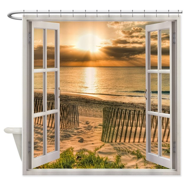 Beach Sunset Window View Shower Curtain By Simpleshopping