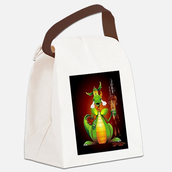 Fun Dragon with Ice Cream Canvas Lunch Bag